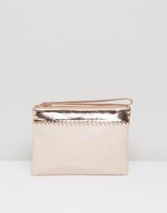 Светло-бежевый клатч с розово-золотистой отделкой и ремешком на запястье Miss KG Tally - Кремовый