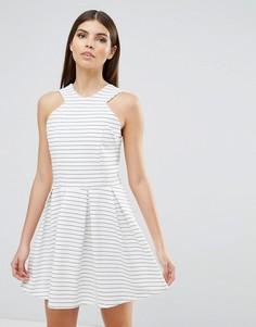 Короткое приталенное платье в полоску d.RA Rosalie - Белый