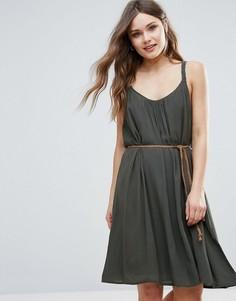 Летнее платье с поясом B.Young - Зеленый