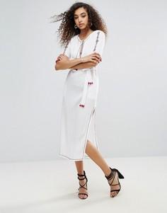 Платье миди с кисточками Unique 21 - Кремовый