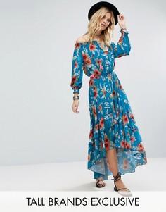Платье макси с открытыми плечами и цветочным принтом White Cove Tall - Мульти