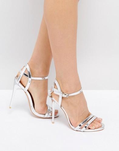 Серебристые босоножки на каблуке с ремешками True Decadence - Серебряный