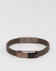 Коричневый кожаный браслет с орлом Emporio Armani - Коричневый