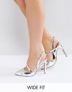 Туфли для широкой стопы на каблуке с острым носом ASOS PARTON - Серебряный