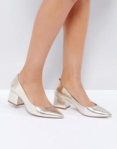Туфли на среднем блочном каблуке ASOS SIMPLY - Золотой