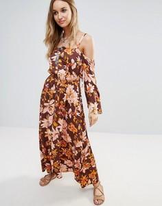 Платье макси с открытыми плечами и цветочным принтом Somedays Lovin - Мульти