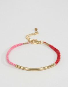 Браслет со шнурком в несколько рядов и металлической планкой ASOS - Розовый