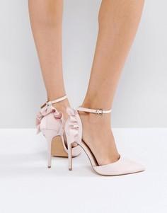 Туфли на высоком каблуке с острым носком и рюшами ASOS PALOMA - Бежевый
