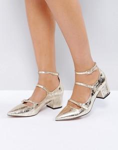 Остроносые туфли на каблуке ASOS SENSATIONAL - Золотой