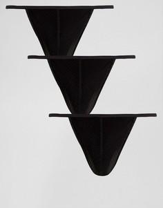 Набор из 3 черных стрингов из микрофибры ASOS - Черный