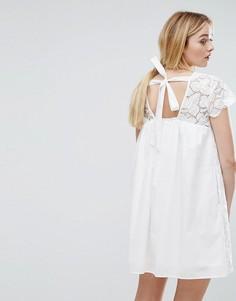 Платье с вышивкой MAX&Co Denise - Белый