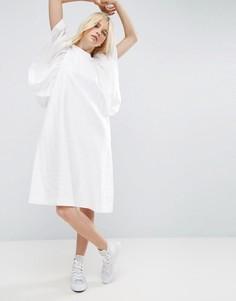 Фактурное платье миди А-силуэта с рукавом-крылышко ASOS WHITE - Белый