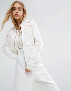 Куртка из переработанного материала с вышитыми цветами Maharishi - Белый