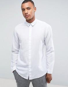 Рубашка классического кроя из ткани с добавлением льна Selected Homme - Белый