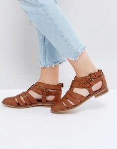 Кожаные туфли на плоской подошве ASOS MUMBAI - Рыжий