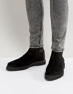 Черные замшевые ботинки челси на толстой подошве ASOS - Черный
