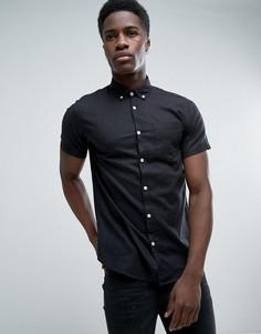 Узкая рубашка с добавлением льна и короткими рукавами Jack & Jones Originals - Черный