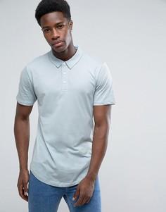 Трикотажная футболка-поло с закругленным низом Troy - Синий