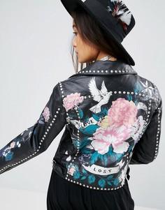 Кожаная куртка с принтом и заклепками ASOS Premium - Черный