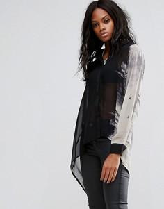 Асимметричная блузка с принтом Religion - Черный