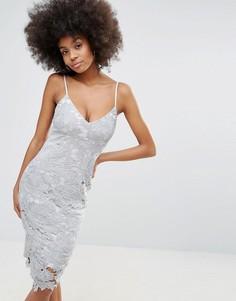 Платье-футляр миди на бретелях с кружевом кроше Club L - Серый