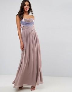 Платье макси в стиле колор блок со сборками ASOS WEDDING - Фиолетовый