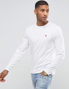 Белый облегающий лонгслив с вышивкой Abercrombie & Fitch - Белый