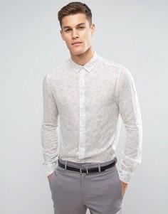 Рубашка классического кроя с цветочным принтом в винтажном стиле ASOS - Белый