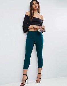 Укороченные зауженные брюки с завышенной талией ASOS - Зеленый