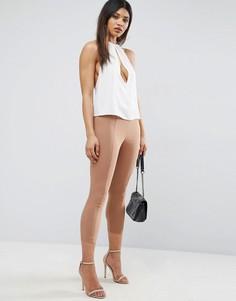 Укороченные зауженные брюки с завышенной талией ASOS - Светло-серый