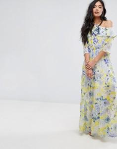 Платье макси с цветочным принтом и завязкой Boohoo - Желтый