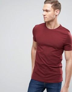 Бордовая эластичная обтягивающая футболка с круглым вырезом ASOS - Бежевый