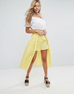Длинная юбка-шорты в клетку ASOS - Желтый