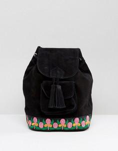 Замшевый рюкзак с вышивкой Park Lane - Черный