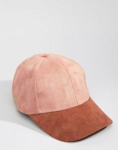 Бейсболка из искусственной замши с контрастным козырьком Systvm - Розовый