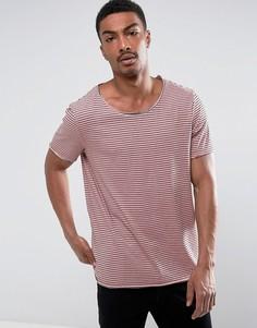 Длинная трикотажная футболка в полоску с необработанными краями ASOS - Розовый