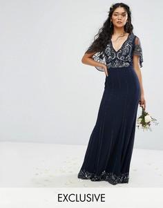 Платье макси с кейпом, с отделкой и рельефным краем Amelia Rose - Темно-синий