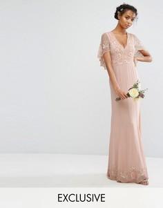 Платье макси с кейпом, с отделкой и рельефным краем Amelia Rose - Розовый