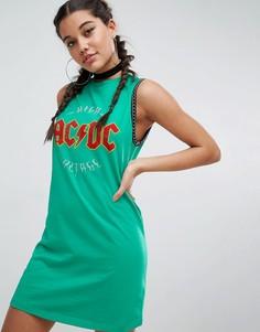 Платье-футболка мини без рукавов с принтом ACDC и цепочкой ASOS - Зеленый