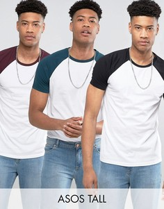 3 футболки с контрастными рукавами реглан черного, зеленого и красного цвета ASOS TALL - СКИДКА - Мульти