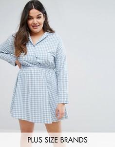 Клетчатое платье-рубашка с запахом Boohoo Plus - Синий