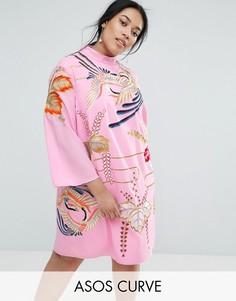 Платье-туника с вышивкой ASOS CURVE - Розовый