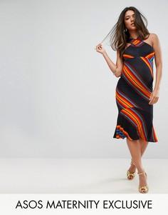 Платье в яркую шевронную полоску ASOS Maternity - Мульти
