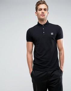 Черная узкая футболка-поло с логотипом BOSS Orange by Hugo Boss Pavlik - Черный