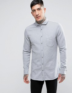 Серая облегающая трикотажная рубашка BOSS Orange by Hugo Boss Cattitude - Серый