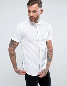 Белая рубашка узкого кроя с короткими рукавами BOSS Orange by Hugo Boss Cattitude - Белый