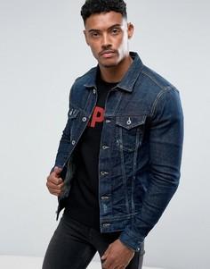 Темная джинсовая куртка с потертостями Replay - Синий