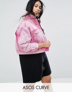 Выбеленная розовая джинсовая куртка ASOS CURVE - Розовый