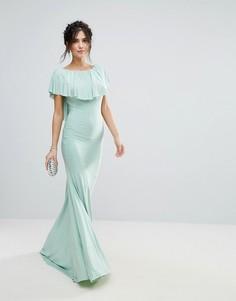 Платье макси со шлейфом и кейпом City Goddess - Зеленый