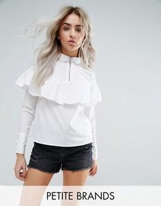 Рубашка с молниями и рюшами Noisy May Petite - Белый